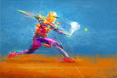 Abstract tennis player. Hitting the ball Stock Images