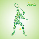 Abstract tennis player kicking the ball. Abstract tennis player from dots kicking the ball stock illustration