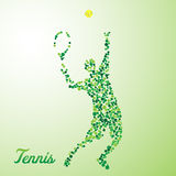 Abstract tennis player kicking the ball. Abstract tennis player from dots kicking the ball vector illustration
