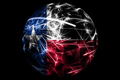 Abstract Texas sparkling flag. American Christmas ball holiday concept isolated on black background stock illustration