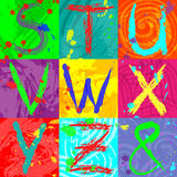 The abstract text effect in bright colors using brushes, spray, ink, grunge. Abstract colorful background. Stock Photo