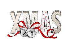 Abstract text XMAS with jingle bells, holiday theme, illustration. Abstract text XMAS with jingle bells isolated on white background, holiday theme, vector Stock Photos