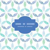 Abstract textile blue green leaves frame seamless Stock Photo