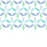 Abstract textile blue green leaves horizontal Royalty Free Stock Photo