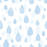 Abstract textile blue rain drops seamless pattern Stock Photo