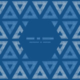 Abstract textile blue triangles ikat frame Royalty Free Stock Images