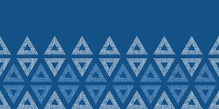 Abstract textile blue triangles ikat horizontal. Vector abstract textile blue triangles ikat horizontal seamless pattern background Royalty Free Illustration