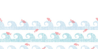 Abstract textile fish among waves horizontal Royalty Free Stock Images