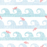 Abstract textile fish among waves seamless pattern Royalty Free Stock Photo