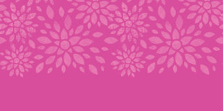 Abstract textile flowers pink horizontal seamless pattern background Stock Photography