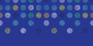 Abstract textile polka dots on blue horizontal seamless pattern background Stock Photography