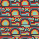 Abstract textile seamless pattern of colorful circles and lines Royalty Free Stock Image