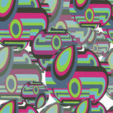 Abstract textile seamless pattern of colorful circles and sphere Royalty Free Stock Photos