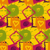 Abstract textile seamless pattern of colorful sketch drawing Stock Photography