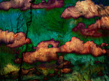 Abstract textural background. Tree, cortex, clouds Stock Photography