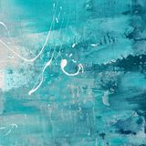 Abstract texture. Painted abstract background in different shades of blue,green and turquoise with white droplets, Art is created and painted by photographer. No Royalty Free Stock Photos