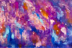 Abstract texture backgroud Blue violet purple galaxy cosmos night sky art illustration artwork. Close-up fragment Oil painting stock illustration