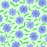 Abstract texture of blue flowers. Seamless texture of abstract flat blue flowers with embroidery vector illustration