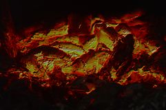 Abstract texture of the burning coals of the fire stock image