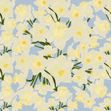 Abstract texture with daffodils. Seamless pattern with festive flower bouquet ornament. Vector illustration Royalty Free Stock Photos