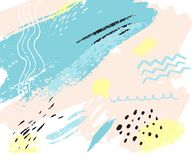 Abstract texture with hand marks. Vector pastel background with shapes of blue, pink and yellow paint. Backdrop. For cards, invitations and brochures Royalty Free Stock Image