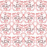 Abstract texture with hearts in red tones isolated. A texture with colorful hearts and decorations. An ideal image for the period of Saint Valentine or for other Royalty Free Stock Images