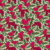 Abstract texture with holly. Seamless pattern with Christmas flower bouquet ornament Stock Photography