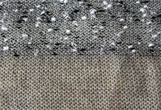 Abstract knitted texture. Abstract texture of knitted fabric of threads, boucle, and wool yarns Stock Image