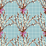 Abstract texture with pussy willow. Seamless pattern with festive flower bouquet ornament. Vector illustration Stock Photo