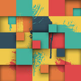 Abstract Texture with Squares and Paint Splashes Stock Photography