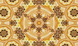 Abstract texture with stars and ornaments made of fractals on a yellow background. In the form of a mandala royalty free illustration