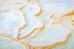 Abstract texture. Travertine pools, formations of a Terrace at Mammoth Hot Springs. Yellowstone Park, USA Royalty Free Stock Photography