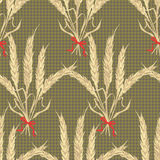 Abstract texture with wheat tied. Seamless pattern with festive flower bouquet ornament. Vector illustration Royalty Free Stock Photo