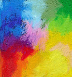Abstract textured acrylic and oil pastel hand painted background. Impressionism style stock image