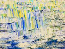 Abstract textured background in blue, yellow spectrum. Oil painting style Royalty Free Stock Photography