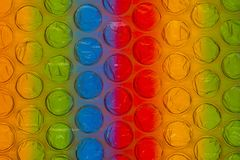 Abstract close up bubble wrap sheet with colorful background royalty free illustration