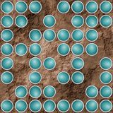 Abstract textured background with turquoise scattered circular elements Stock Image