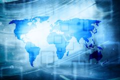 Artificial intelligence abstract world map background Stock Images