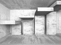 Abstract textured concrete empty room interior background. 3d render illustration Royalty Free Stock Photos