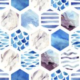Abstract textured hexagon shapes seamless pattern Stock Image