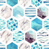 Abstract textured hexagon shapes seamless pattern Royalty Free Stock Image