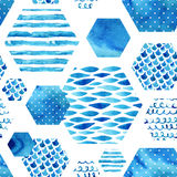 Abstract textured hexagon shapes seamless pattern Royalty Free Stock Images