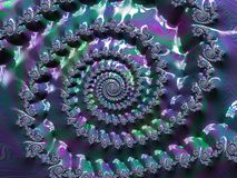 Abstract textured spiral fractal in green, purple and blue neon colors, artwork for creative art, design and entertainment. Background for website and flyer vector illustration