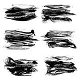 Abstract textured strokes of black ink Stock Photography