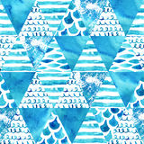 Abstract textured triangles seamless pattern Royalty Free Stock Image