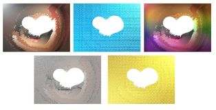 Set of Abstract textures with heart isolated. Set of colorful textures in different tones Royalty Free Stock Images