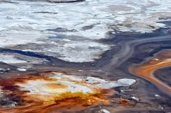 Abstract textures of Porcelain Basin in Yellowstone national par stock photo