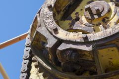 Abstract Textures and Shapes: Aging Metal Machinery Stock Photo