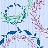Pattern with wreaths of flower decoration. stock illustration