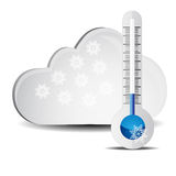 Abstract thermometer with clouds and snow Royalty Free Stock Photos